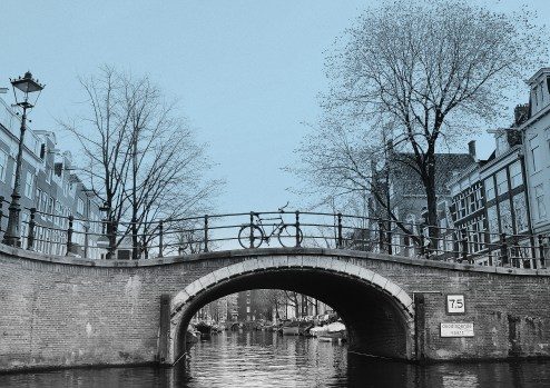 one from more than 1,500 bridges serenely graced one of the canal in downtown Amsterdam