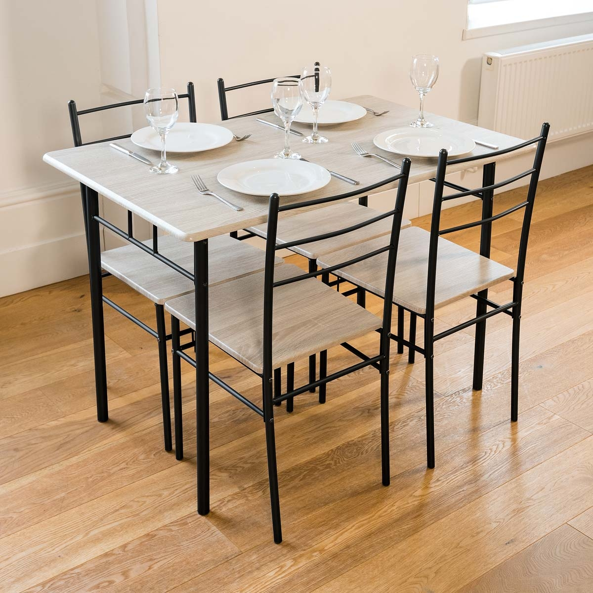 Dining Room Chairs Set Of 4 Details About 5 Piece Modern Dining Table And 4 Chairs Set Textured Wood Effect Table Top