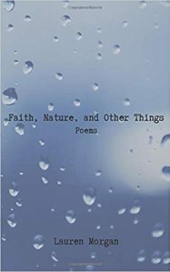 A poetry book, Faith, Nature, and Other Things, with raindrops in the background