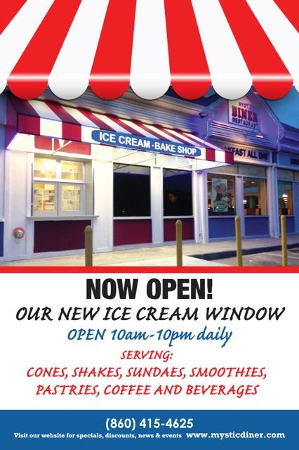 Mystic Diner Ice Cream Window