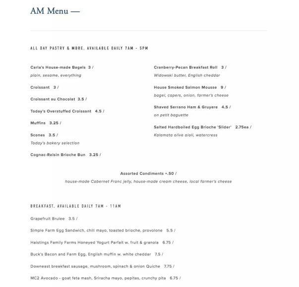 m bar menu