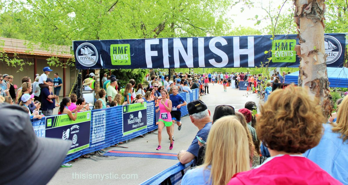 Half Marathon finish line at Mystic Aquarium