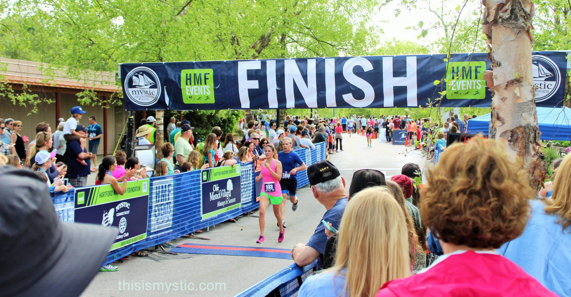 Half Marathon finish line at Mystic Aquarium
