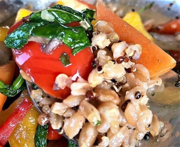 Tri-colored Quinoa, Farro, & Vegetable Bowl