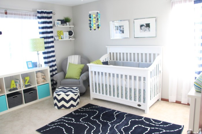 Baby boy nursery | little boy room | navy, lime green and gray nursery | This is our Bliss