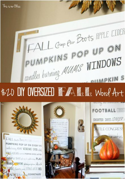 How to DIY Oversized Fall Word art - DIY wall decor - word art - This is our Bliss