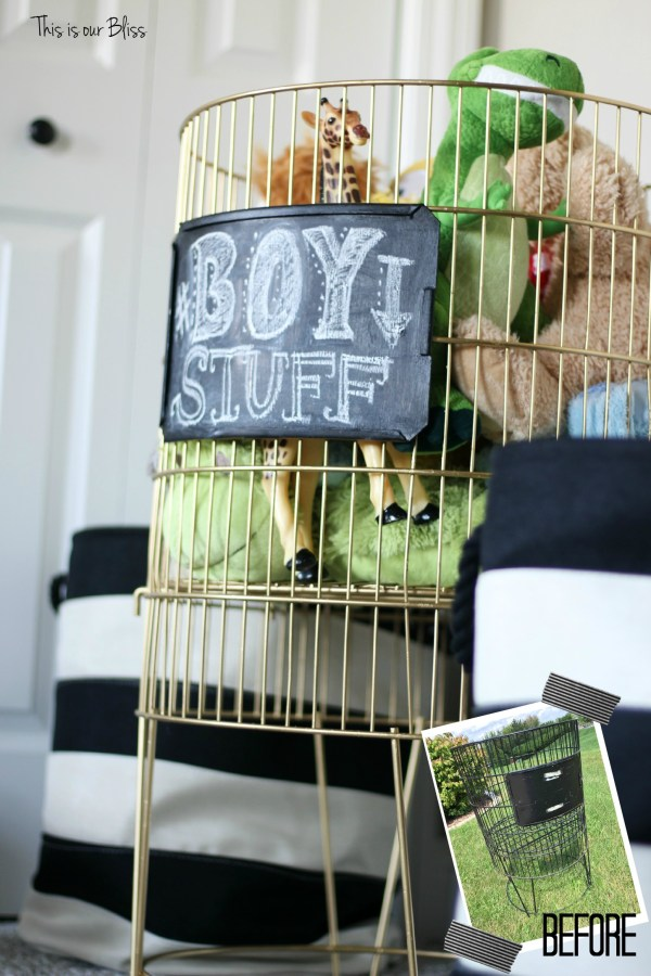 Before & after DIY metal toy bin gold spray paint & chalkboard paint boy stuff playroom striped baskets 2 This is our Bliss
