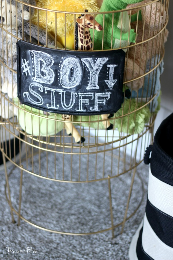DIY metal toy bin gold spray paint & chalkboard paint boy stuff playroom kid space This is our Bliss