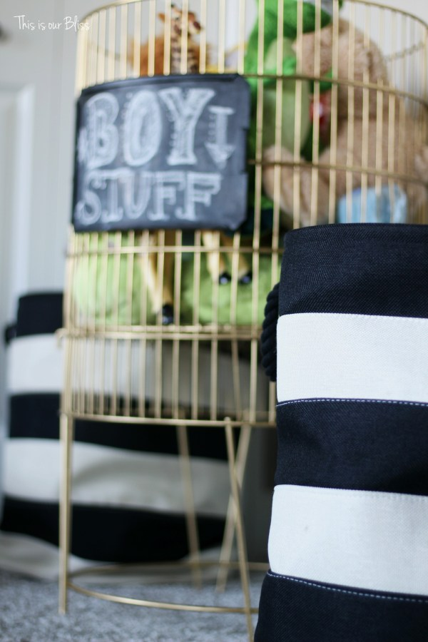 DIY metal toy bin gold spray paint & chalkboard paint boy stuff playroom striped baskets 1 This is our Bliss