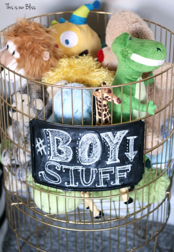 DIY metal toy bin gold spray paint & chalkboard paint boy stuff playroom This is our Bliss