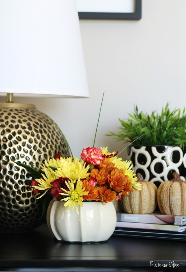 easy fall vignette - simply fall decor - fall flowers - end table styling - this is our Bliss