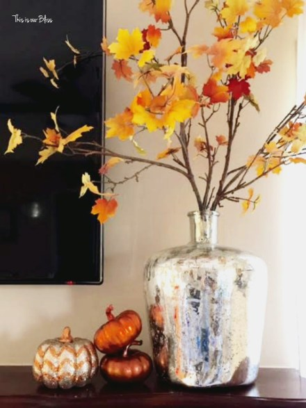 fall mantel leaves - mini pumpkins - This is our Bliss