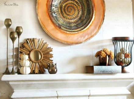 fall mantle - mantle styling - copper gold 1 - mini pumpkins - This is our Bliss
