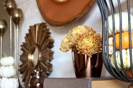 fall mantle - mantle styling - copper gold - mini pumpkins - gold sunburst - fall vignette - This is our Bliss