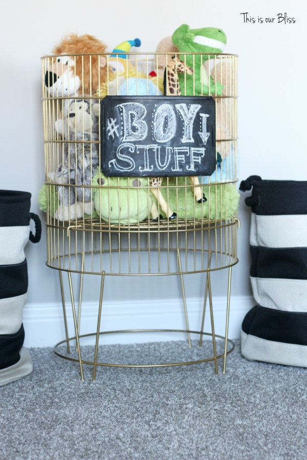 metal toy bin gold spray paint & chalkboard paint diy toy bin - this is our bliss