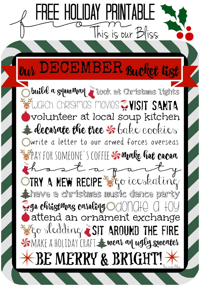 Holiday printable - December Bucket list - This is our Bliss