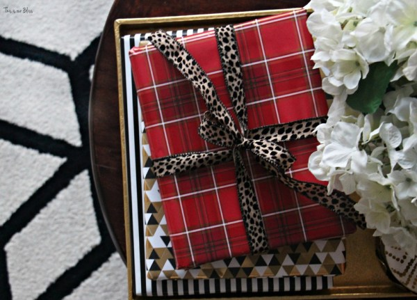 easy holiday decorating - wrapped coffee table books as christmas gifts - This is our Bliss