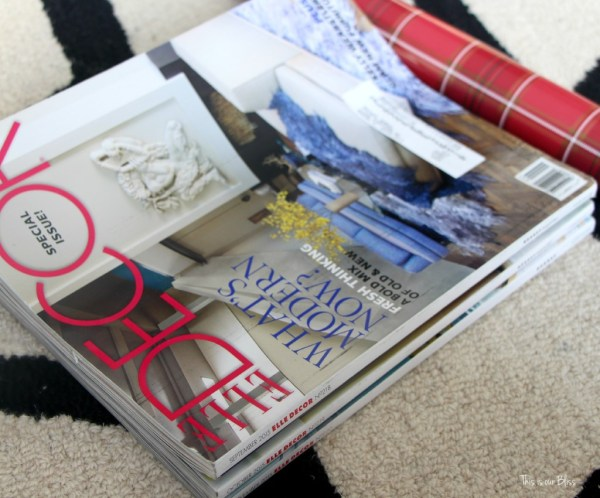 wrapped magazines - coffee table christmas gifts - this is our Bliss