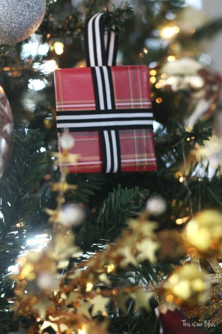 DIY wrapped present ornaments - Tree shot - This is our Bliss