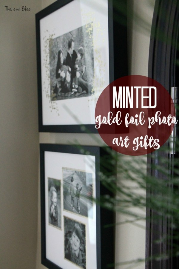 MInted gold foil photo art gifts - christmas wreath - holiday home tour - christmas entryway - minted photo gifts - gold foil - This is our Bliss