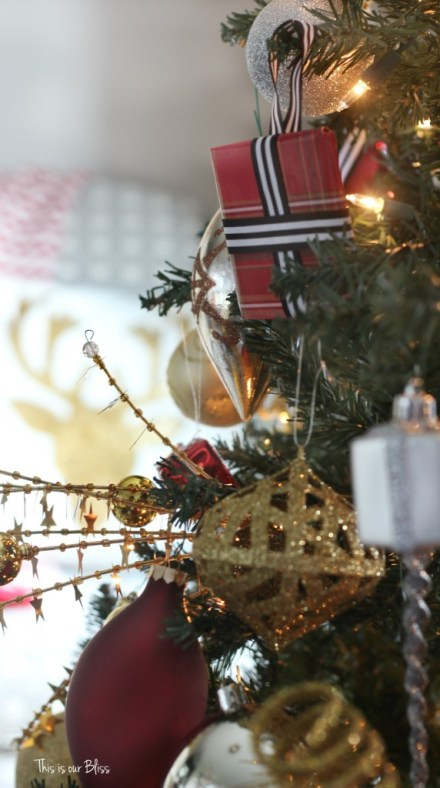 My Home Style Christmas Tree edition - bold neutral glam - stripes, plaid, gold - gold sequin picks - thisisourbliss.com