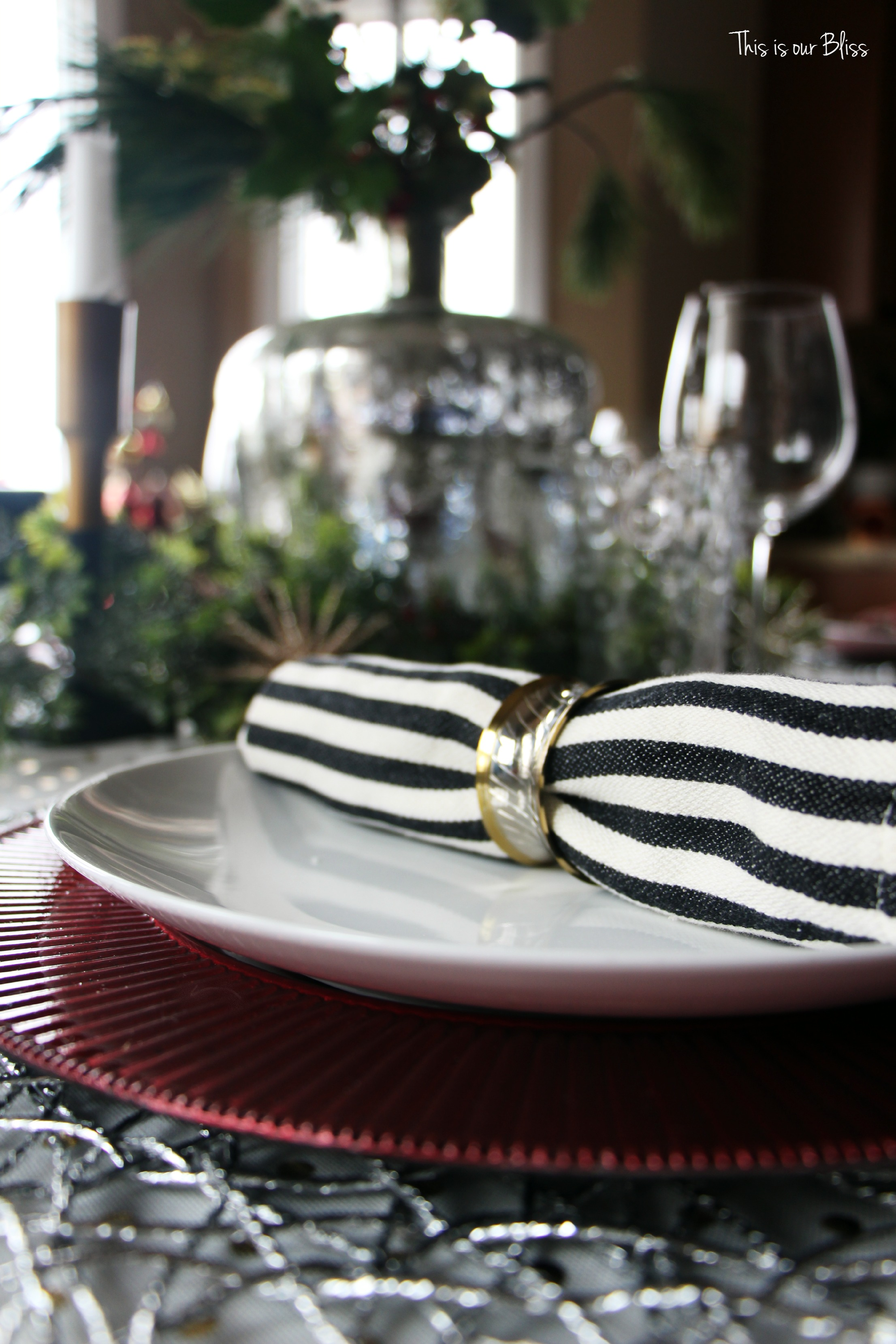 Black and white stripe charger plates - Next I Put Out The Metallic Red Ruffle Charger Plates I Got At Michaels For 60 Off And Then An Additional 20 Off My Entire Purchase Making Them Cost