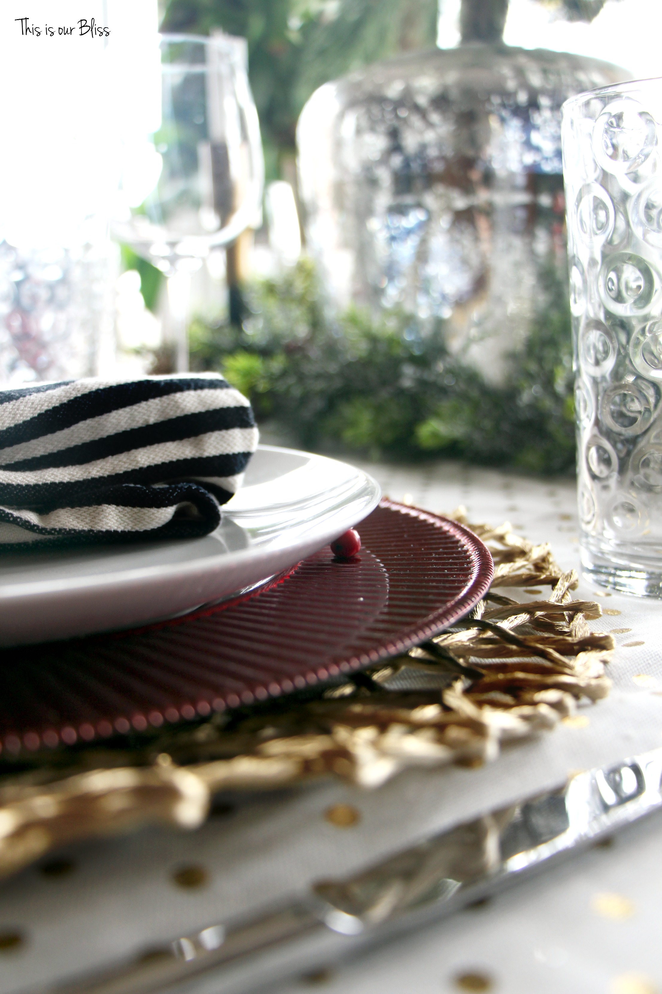 Black and white stripe charger plates - The Table Is Full Of Pattern And Glitz And Was So Easy To Create