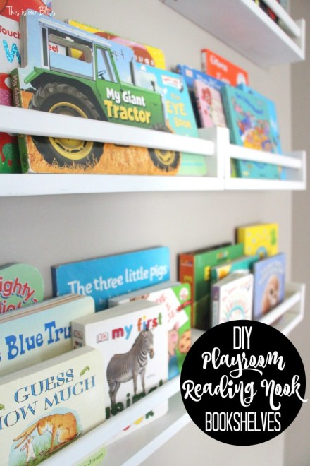 DIY playroom reading nook bookshelves - diy bookshelves from ikea spice rack - This is our Bliss