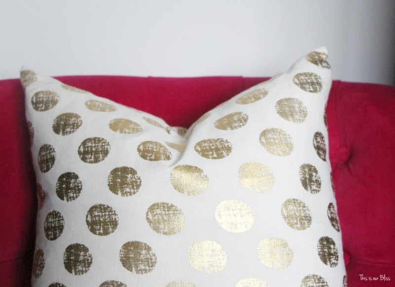 gold polka dot pillow - pink chair - master bedroom - new year new room refresh challenge - thisisourbliss.com