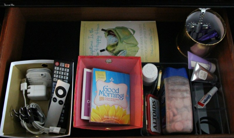 How to organize your bedside table drawer 1 nightstand clean-out & organization drawer organization This is our Bliss www.thisisourbliss.com