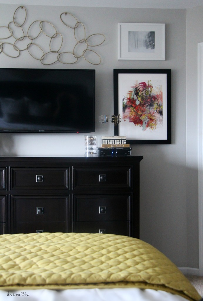 new year, new room refresh challenge - Master bedroom refresh - gold decor - TV gallery wall - minted art - This is our Bliss - www.thisisourbliss.com