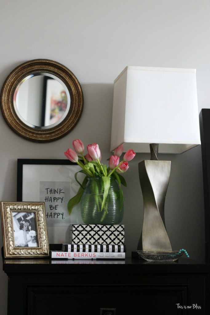 new year, new room refresh challenge - Master bedroom refresh - gold decor - how to style a nightstand - bedside table - This is our Bliss - www.thisisourbliss.com