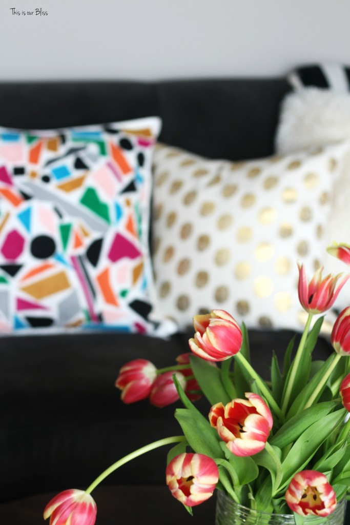 Knock it off DIY World Market inspired pillow how to make a no sew felt pillow Spring Living Room This is our bliss