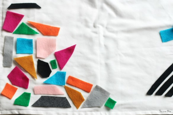 Knock it off DIY World Market inspired pillow how to make a no sew felt pillow lay out felt This is our bliss