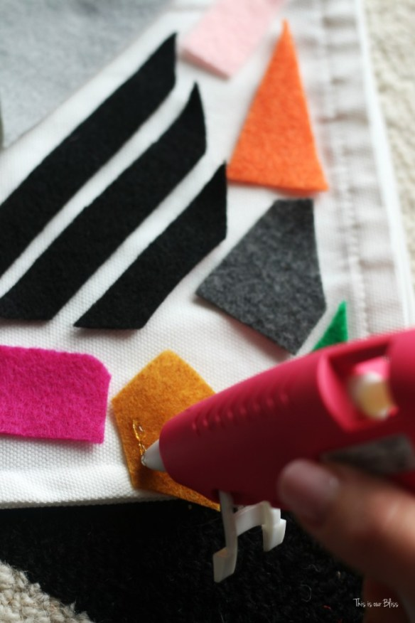 Knock it off DIY world market inspired pillow how to make a no sew felt pillow with hot glue gun This is our Bliss