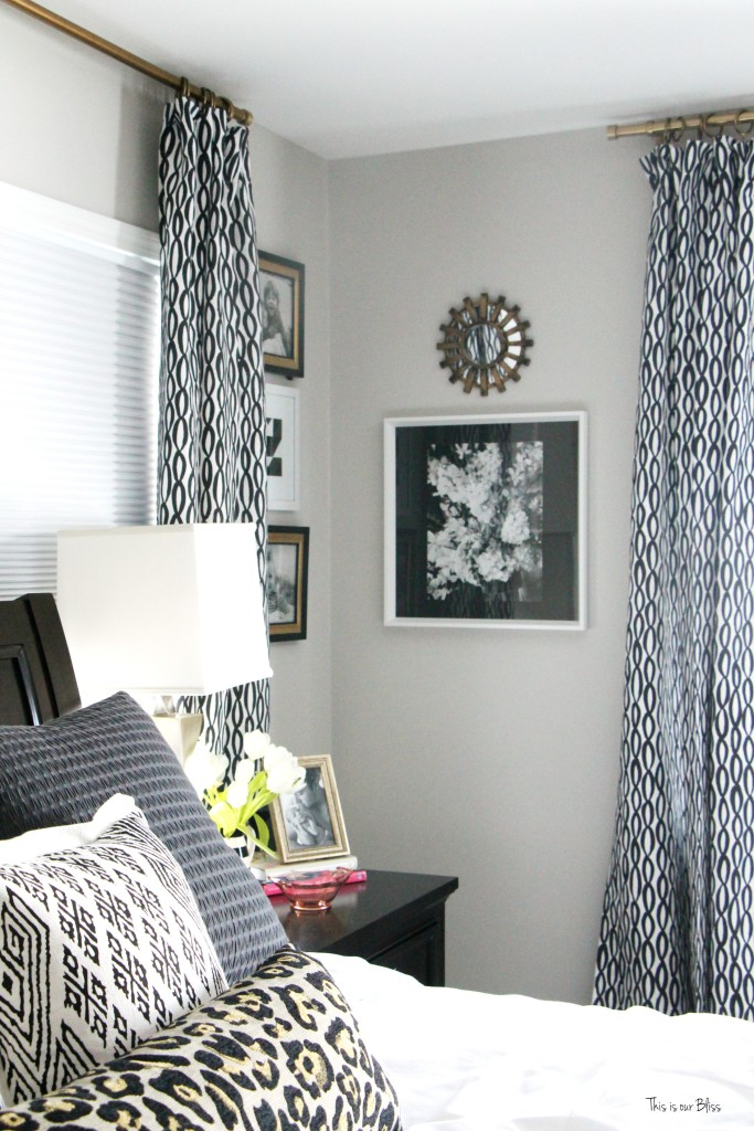 New year new room master bedroom refresh challenge - black and white bold pattern curtains with corner gallery wall This is our Bliss www.thisisourbliss.com