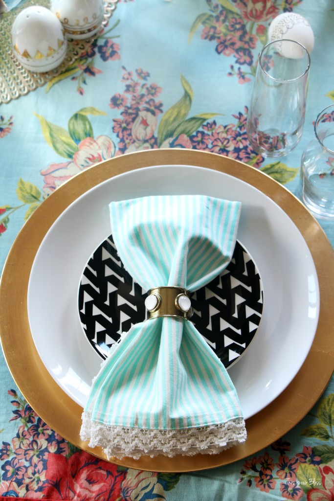Spring Tablescape | Easter table | tablesetting & mixing prints with table linens | This is our Bliss