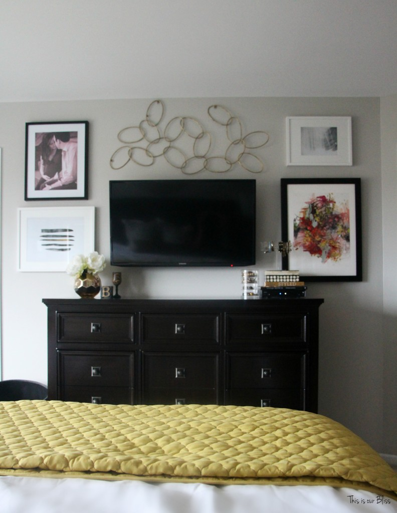 TV Gallery wall Master bedroom refresh minted art and pink tinted photo This is our Bliss