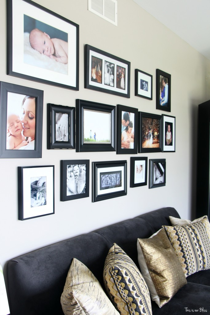 formal living room gray couch with all black frame gallery wall This is our Bliss www.thisisourbliss.com