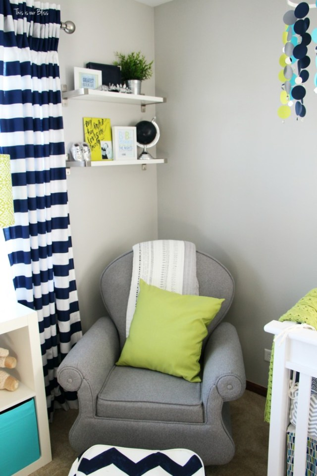 nursery corner with rocker and shelves DIY Nursery Decor This is our Bliss