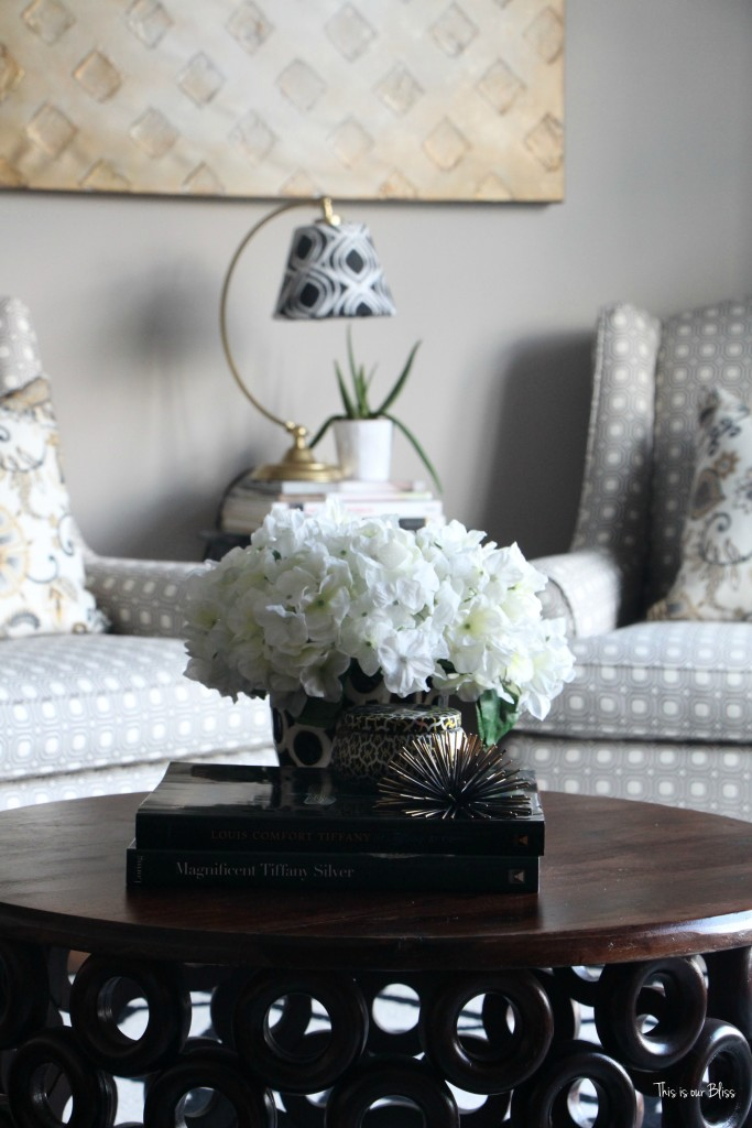 Its so ugly its cool thrift challenge   Lampshade redo   how to recover an old lampshade   black white and gold decor   DIY lampshade 4   This is our Bliss