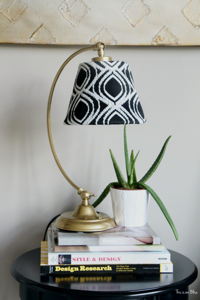 Its so ugly its cool thrift challenge | Lampshade redo | how to recover an old lampshade | black white and gold decor DIY lampshade || This is our Bliss