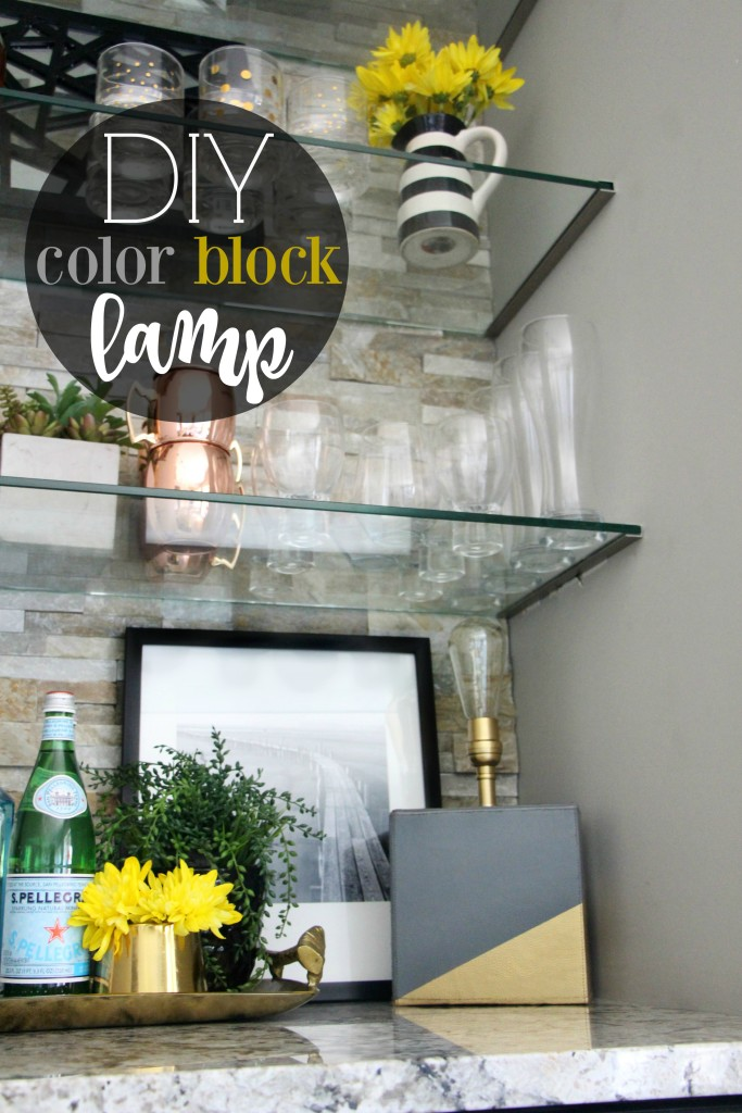 DIY color block lamp 1 | create and share Lamp-alooza challenge bar shelves summer styling | This is our Bliss | www.thisisourbliss.com