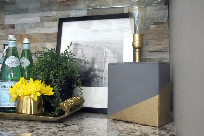 DIY color block lamp | gray and gold painted lamp base | create and share challenge | This is our Bliss | www.thisisourbliss.com