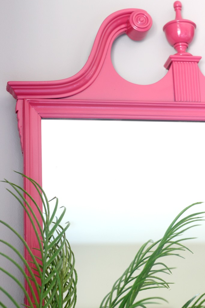 Eddie Ross Inspired by DIY | Indoor summer bar styling | Thrifted mirror makeover | painted pink mirror detail | This is our Bliss