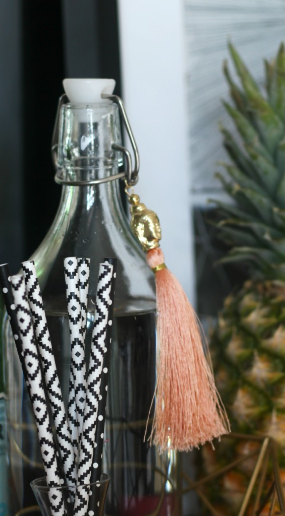 Eddie Ross Inspired by DIY summer bar styling peach tassel and pineapple accessories This is our Bliss www.thisisourbliss