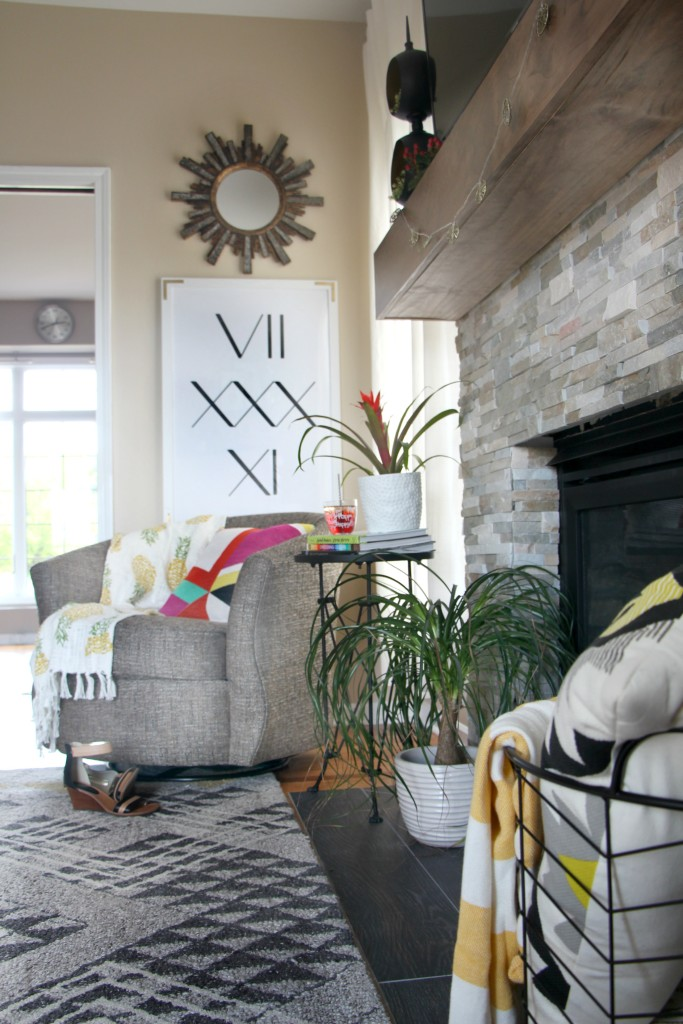 Summer Home Tour | summer styled family room and rustic modern mantel | Eclectic summer home tour | This is our Bliss | www.thisisourbliss.com