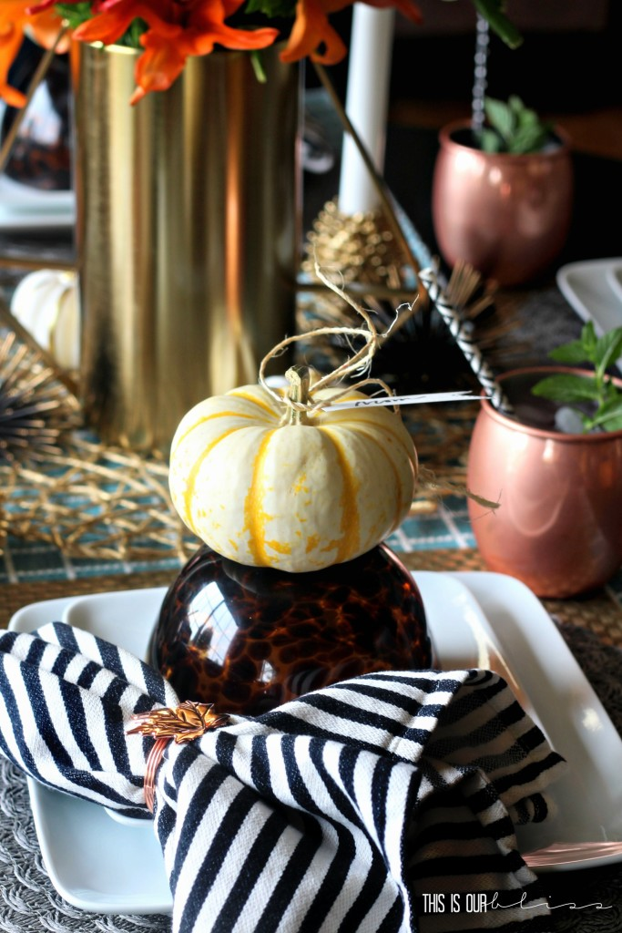Casual fall tablescape with gold & copper accents | This is our Bliss