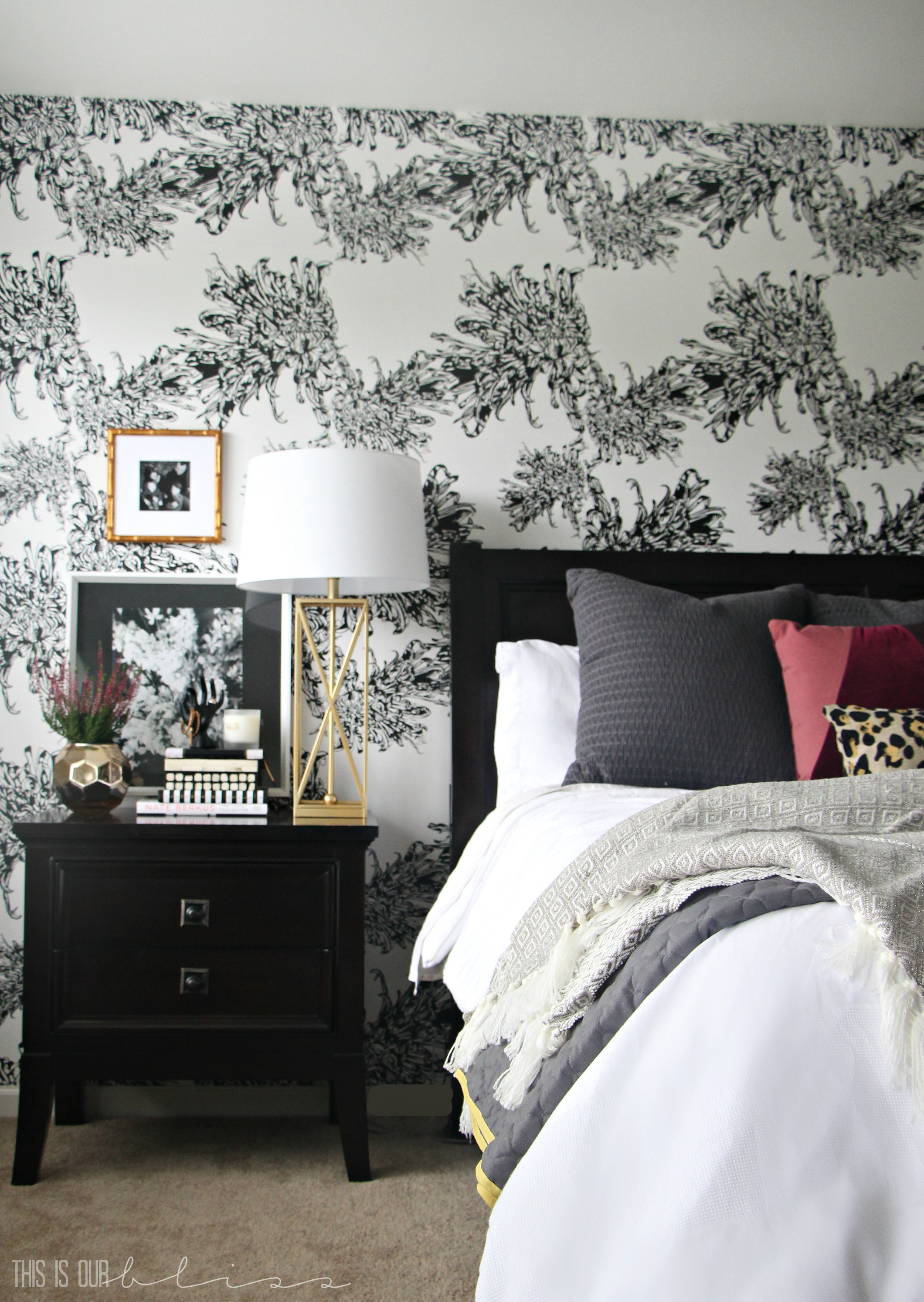 Bedroom Wallpapered accent wall   Glam Master Bedroom   This is our Bliss    www. Master Bedroom Accent Wall with Wallpaper  This is our Bliss