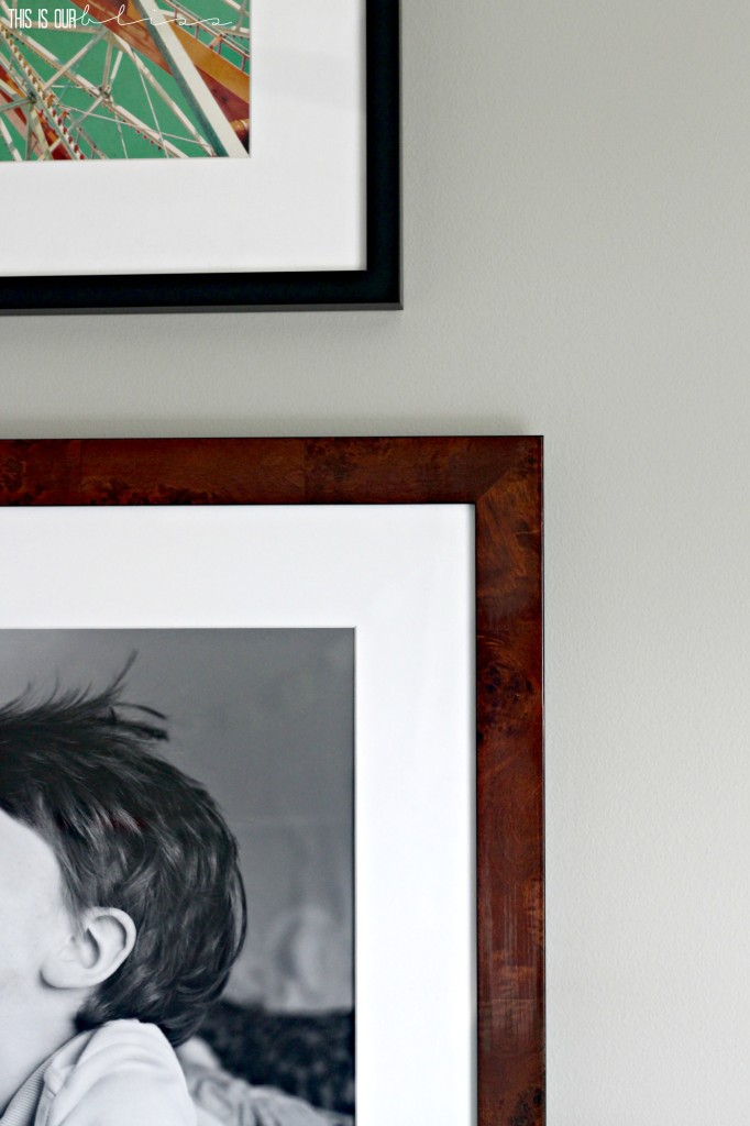 Oversized art in the big boy room gallery wall | Framebridge custom frames | This is our Bliss